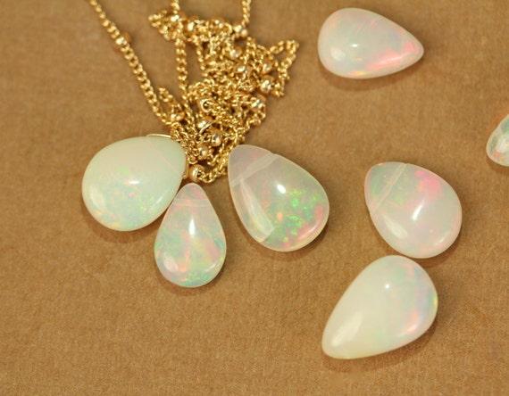 Opal necklace - fire opal necklace - opal - october birthstone - a genuine opal teardrop wire wrapped onto 14k gold vermeil chain