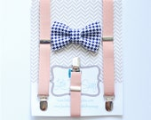 Blush Suspenders Navy Bow Tie for Boys, Ring Bearer Outfit, Boys Cake Smash Bow Tie, Blush Wedding, Rustic Wedding, Boys Bow Tie, Wedding