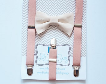 Blush Suspenders and Nude Bow Tie for Boys, Ring Bearer Suspenders, Blush Nude Wedding, Boys Suit, Natural Wedding, Boys Clothing, Boys Gift
