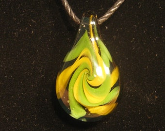 Vortex Swirled Green & Yellow Pendant 17
