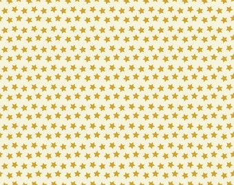 Pre-Order, Twilight Ivory, Fabric Yard by Maude Asbury for Blend Fabric, Halloween, Gold Stars, Spooktacular Eve, 101.107.12.2