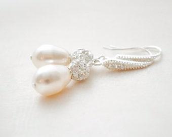 Bridal Drop Earrings, Teardrop Pearl Earrings, Pearl and Crystal Earrings for the Bride, Wedding Earrings