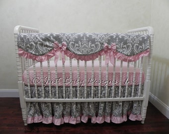 Baby Girl Crib Bedding Set Alaina - Bumper Free Girl Baby Bedding, Crib Rail Cover - Pink and Gray Baby Bedding