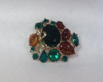 Green and Topaz Vintage Brooch