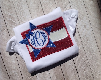 July Fourth monogram glitter Flag