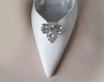 Vintage art deco style very sparkly brooch wedding bridal party shoe clips