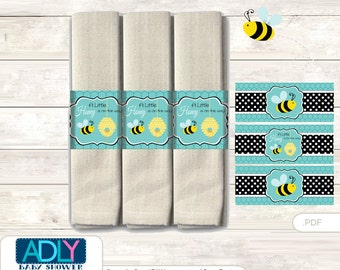 Neutral Bee Napkin Ring Label Printable for Baby Bee Shower DIY Black Turquoise-ao111bs9