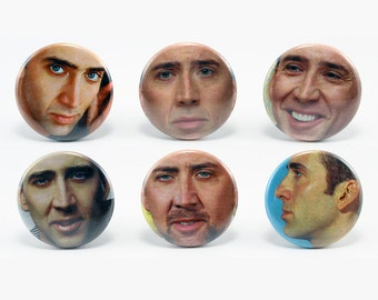 Nicolas Cage Set of 6 1.25'' Button Pins Nic Funny