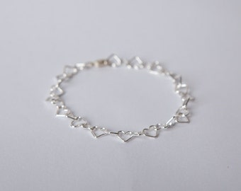 Bracelet Silver Heart Links Love Chain Plated Hearts