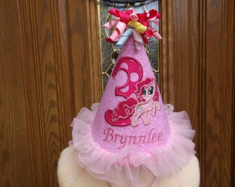 Girls  First Birthday Party Hat - My Little Pony Theme - Free Personalization
