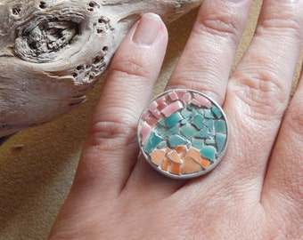 Sterling silver micro mosaic ring with mosaic ceramics tiles in mint, and peach and pink. One of a kind. Spring Trends Ready to ship