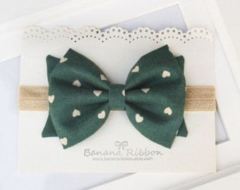 Hunter green fabric hair bow  - Baby and girls fabric headband - gold headband - Hunter green hair bow