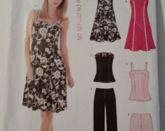 New Look Sewing Pattern 6468 Misses' dress, top, capris and shorts in size 6, 8, 10, 12, 14, 16