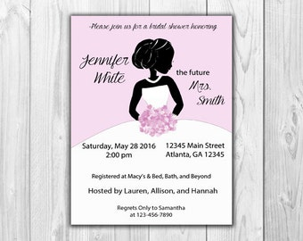 Bridal Shower Invitations - Classy Silhouette in Soft Pink Personalized (8 Count with Envelopes)