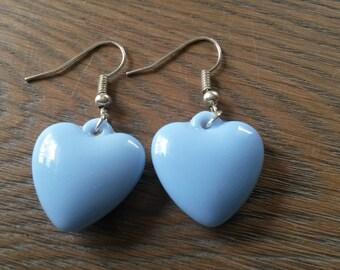 Baby blue heart earrings, blue hearts, blue earring