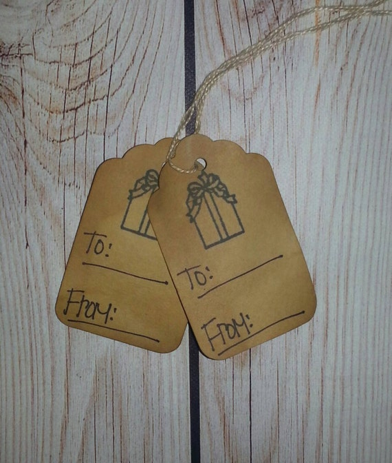 Primitive country rustic christmas gift to and from hang tag Country christmas gifts to make
