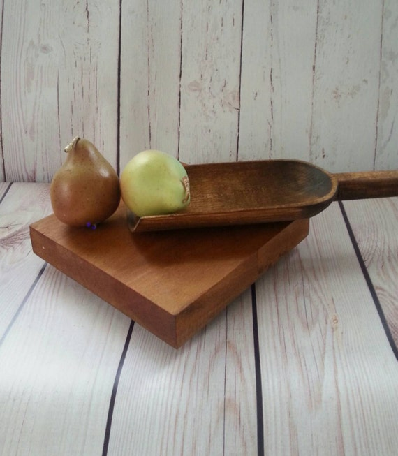 Primitive Pantry Old Wooden Paddle Scoop Large By