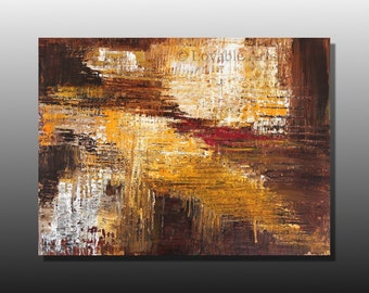 """ORIGINAL brown Abstract  painting 40"""" x 30"""" Large dark brown Modern Art yellow white red brown Contemporary Palette Knife textured fine art"""