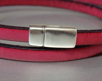 2 clasps - 5mm Zamak magnetic clasp for flat leather silver color - clasps for flat leather - leather supplies (ZC66)