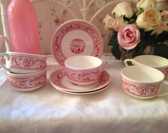 1960s Vintage // Cup and Saucer // Memory Lane by Royal China USA // Red/Pink