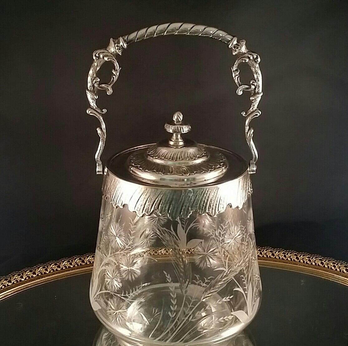 Antique Crystal Biscuit Jar Pickle Castor Glass Canister