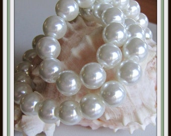 White Celestial Pearl Beads , 10 mm Pearls, 16 inch strand, White Pearls, Glass Pearls, Pearl Beads, Faux Pearls, Item #534