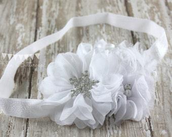 White Flower Headband, Christening Headband, Baptism Headband, Baby Headband, Newborn headband, Girls headband, Flower girl headband