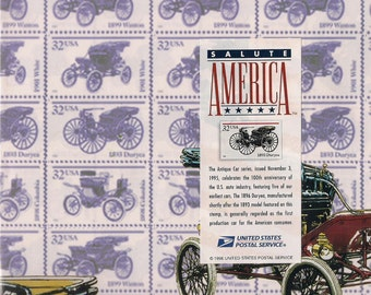 Postage Stamp Antique Cars Gift Wrap Duryea 1893 Wrapping Paper Flat wrap Salute America Series