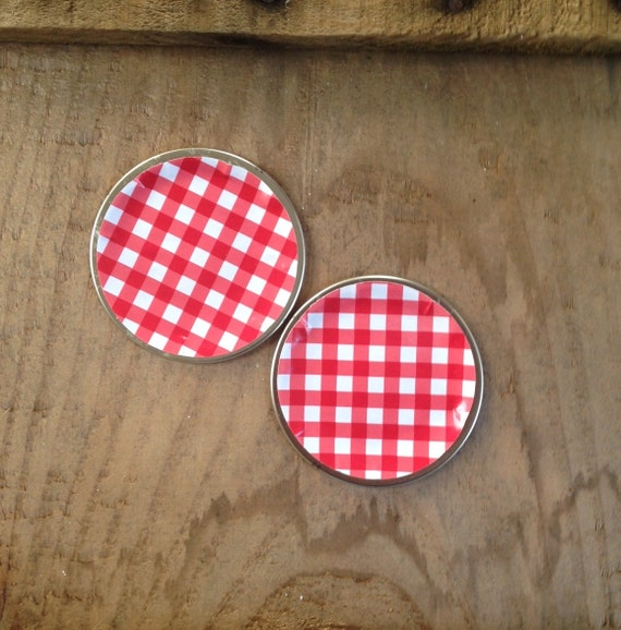 Gingham Canning Jar Lids Red White Check Mason Jar Favor