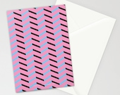 Blue and Black Chevron on Pink Stationery Set