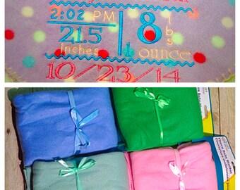 Baby Blanket Birth Stats Personalized Fleece, CHOOSE YOUR COLOR, Birth Information Blanket, Monogrammed Birth Stats Blanket