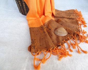 Orange Bamboo Peshtemal-Turkish PESHTEMAL-,Orange,Brown,Butterfly Peshtemal-Spa,Bath,Beach,Yoga,Pool,Fitness Towel, Pareo