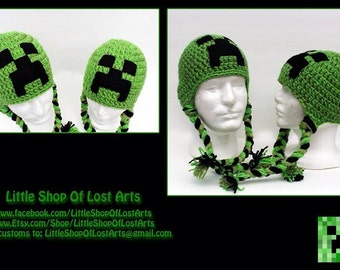 Green thick gamer crochet hat made to order