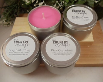 Special Offer - 4 ea 8oz Soy Candles in Metal Tin- 200+ Scents Available -Great Gift Ideas-Hostess Gifts- Party Favors- Baby Shower