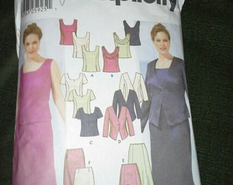Simplicity 5973 top skirt jacket pattern Plus Size 18w-24w