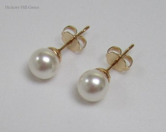 6mm White Pearl Studs Swarovski Elements WHITE, pearl earrings, small pearl stud earrings, white pearl earrings, GOLD pl. posts, Made in USA