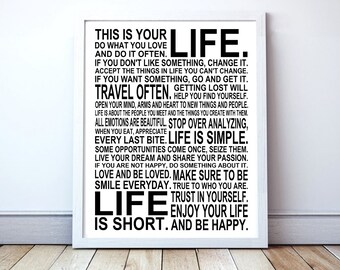 This Is Your Life -  Motivational Manifesto Poster Print