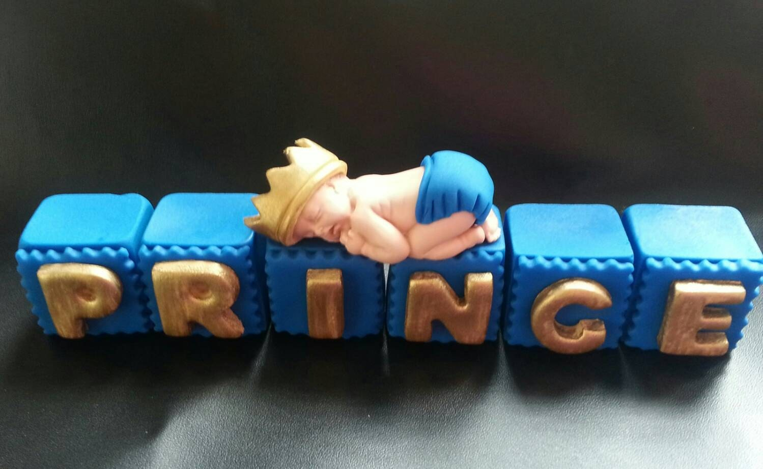 Cake Decorating Letter Blocks : Fondant edible PRINCE baby with letter blocks cake topper for