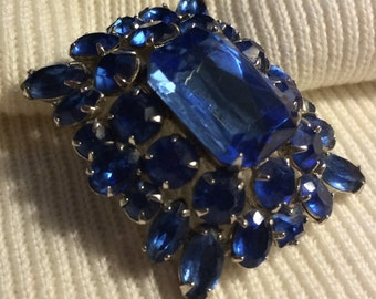 Juliana Style Large Blue Rhinestone Vintage Brooch