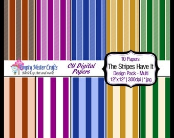 Digital Paper pack 12x12, Stripes have It mix, Commercial use ok