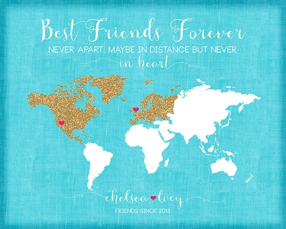 Wedding Gift Ideas For Distant Friends : ... Gift Idea, Glitter, Turquoise, Summer Wedding Gift for Best Friend
