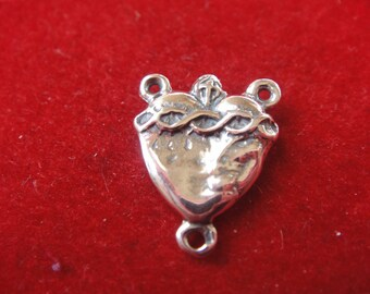925 sterling silver sacred heart, silver sacred heart, sacred heart, silver rosary, sacred heart connector
