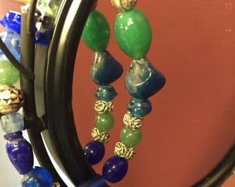 Green, Blue and silver Multi-shaped Beaded Bracelet