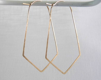 Large ORYX HOOPS - Hammered Gold Geometric Hoop Earrings - Angular Hoops in Bronze, 14k Gold Filled or Sterling Silver