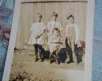 Vintage 1930's Sepia Photo of Four Young Children