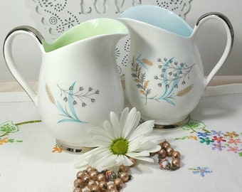 Vintage milk jug creamer available in pale green glade pattern by Queen Anne china 1950s.