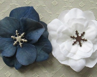 Snowflake Mini Hair Flower Clips/Pins or Shoe Clips