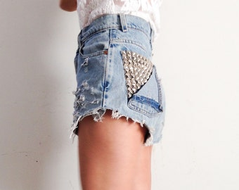 Levis distressed shorts with studded pockets