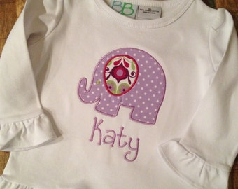 Elephant applique ruffle shirt with name