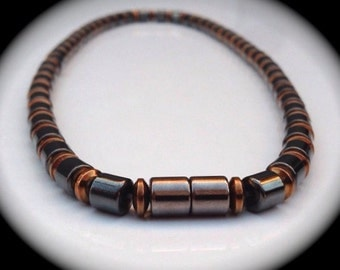 Men's Magnetic Bracelet or Necklace with Magnetic Barrel Beads and Magnetic Copper-finish Rondelles ~